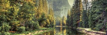 A serene river in Yosemite Valley
