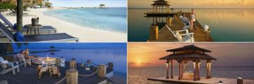 Zoetry Montego Bay, (clockwise from top left): Beach, Champagne on the Pier, Private Dinner in the Gazebo and Fire Pit