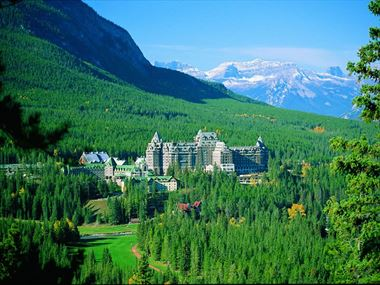 Aerial view of Fairmont Banff Springs