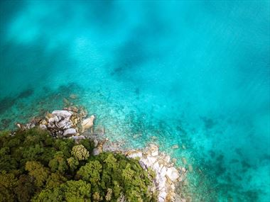 Aerial view over Malaysia's Perhentian Islands