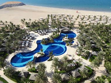 Aerial view of pool and beach, Waldorf Ras Al Khaimah