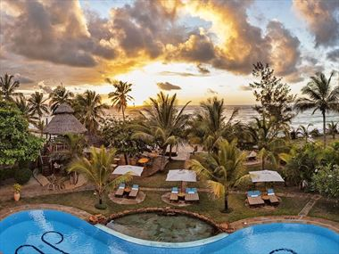 AfroChic Diani Beach Hotel pool and beach views