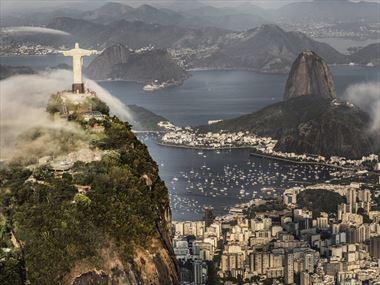 Hang Glide over Christ the Redeemer in Rio de Janeiro