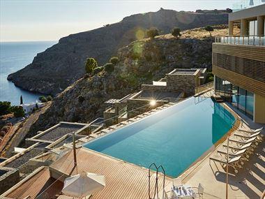 Pool and sea views at Lindos Blu