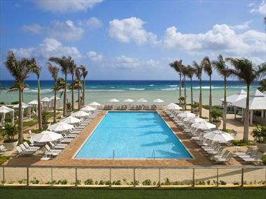 Oceanfront main pool at Hilton Rose Hall Resort & Spa