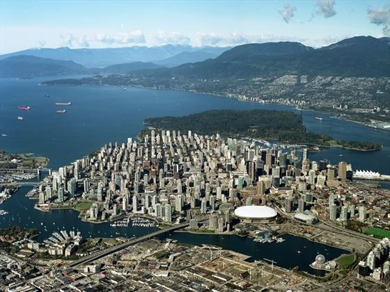 Aerial view of Vancouver and surrounding mountains