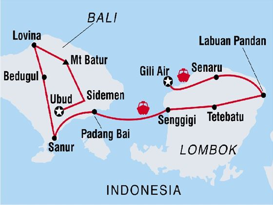 Bali and Lombok Adventure Map