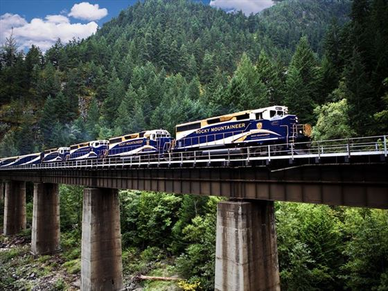 Rocky Mountaineer on bridge near Hells Gate