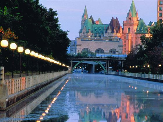 Chateau Laurier exterior from the Rideau Canal