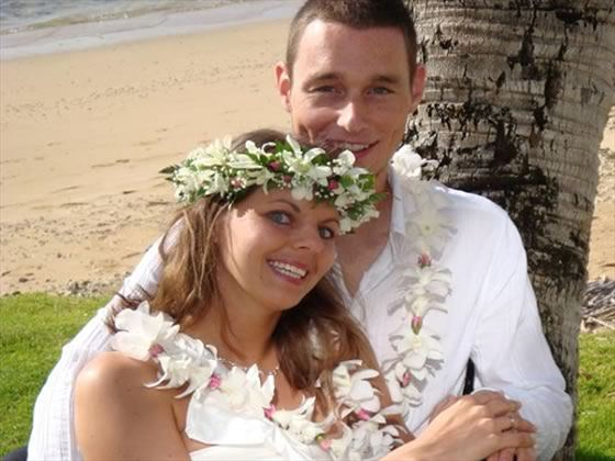 Kauai Beach - bride and groom