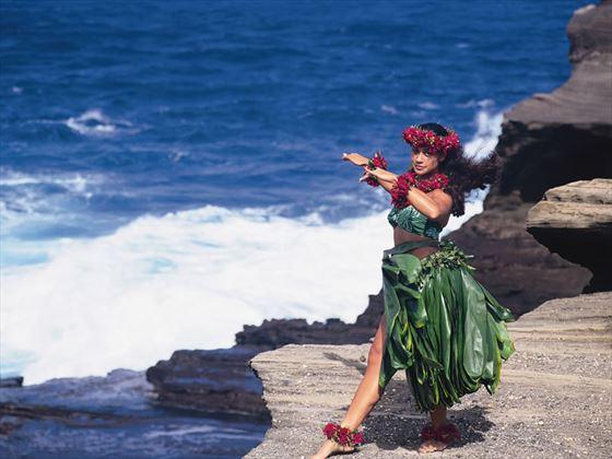 Hula dancer, dancing on the cliffs, Hawaii