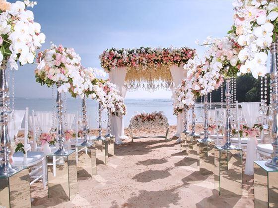 Luxury wedding venue on a white sandy beach