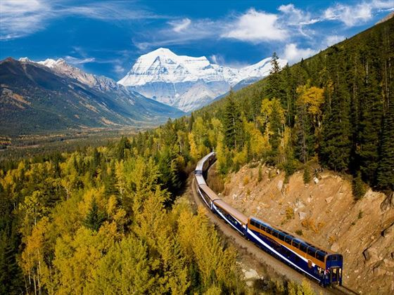 Rocky Mountaineer with Mount Robson in the background