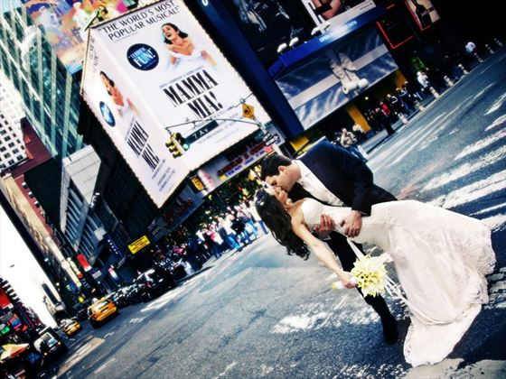 Bride and groom in Times Square