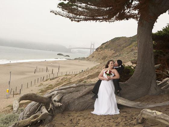 Bride & Groom on Baker Beach