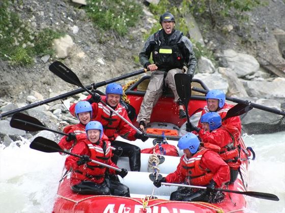 White water rafting with Alpine Rafting on the Kicking Horse River near Golden