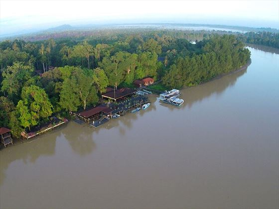 Aerial View of Abai Jungle Lodge, Borneo