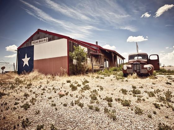 Abandoned Texan restaurant on Route 66