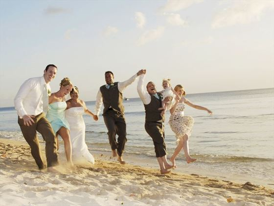 Wedding party at Almond Beach Resort