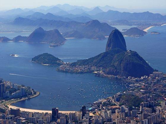 Aerial view of Sugar Loaf Mountain in Rio De Janeiro, Brazil