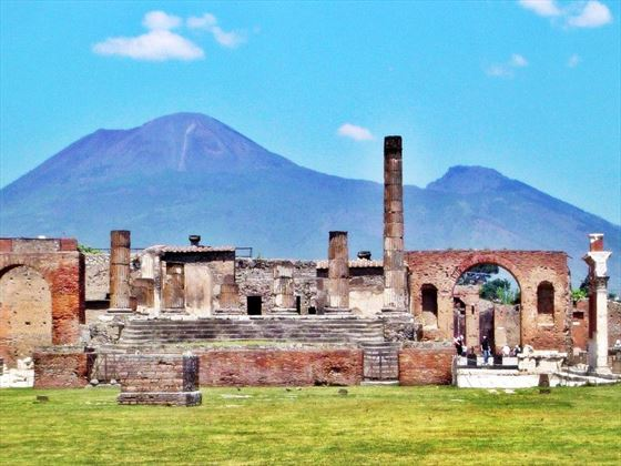 The ruins at Pompeii with Mount Etna in the background