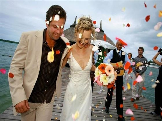 Wedding celebrations on the jetty