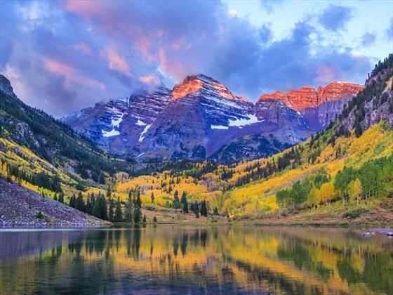 Autumn colours of Maroon Bells and lake, Colorado
