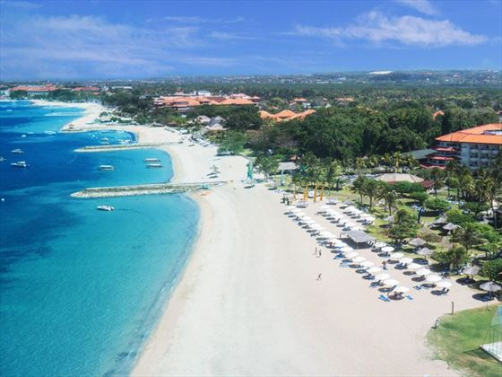 Aerial View of the Beach at Grand Mirage Resort & Thalasso