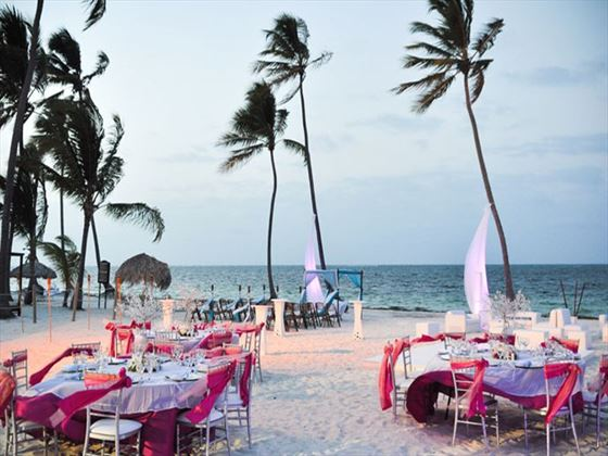 Beachfront dining at Dreams Palm Beach