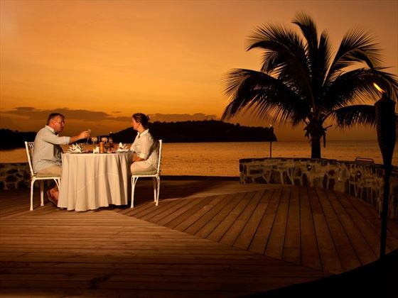 Beachfront evening dining at Rendezvous