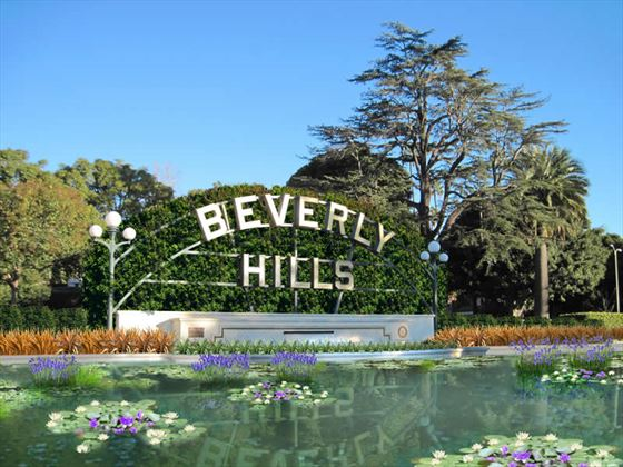 Beverly Hills lily pond and sign