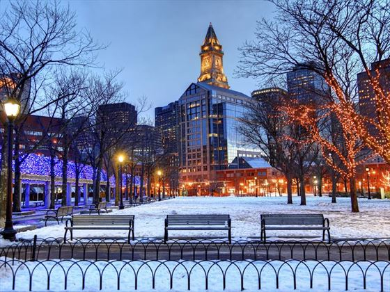 Boston in the winter snow