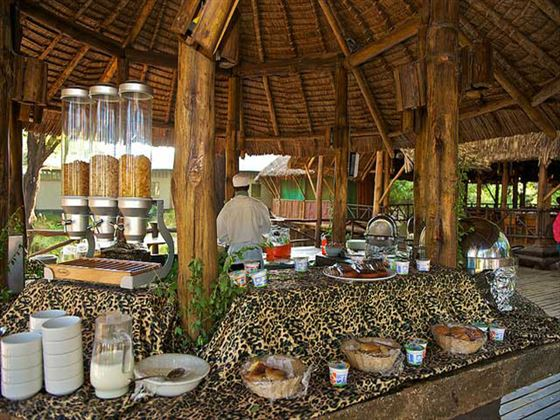 Breakfast buffet at Samburu Intrepids