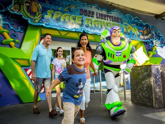 Buzz lightyear and family at Magic Kingdom park