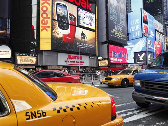 Cabs in Times Square, New York