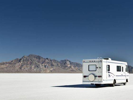 Camper on the Bonneville Salt Flats, Utah