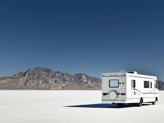 Camper on the Bonneville Salt Flats, Utah