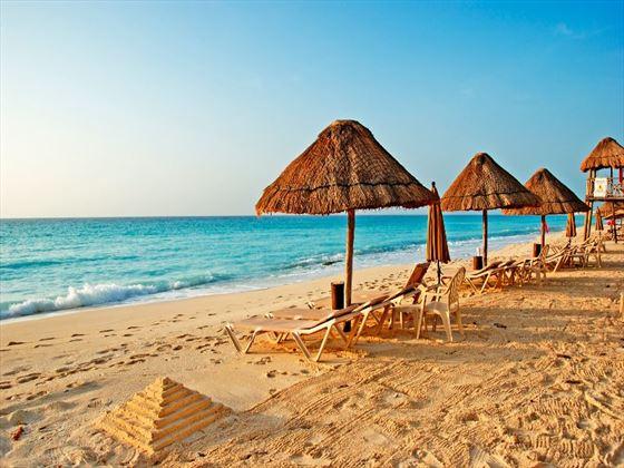 Beach umbrellas in Cancun