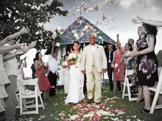 Wedding celebrations at the garden gazebo