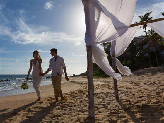 Beach setting with Bride & Groom