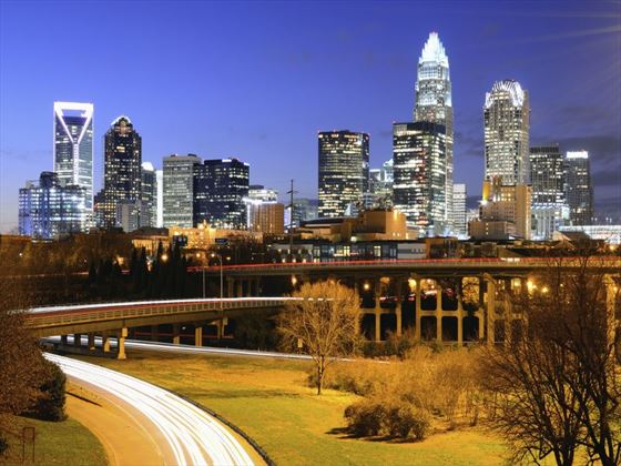 The Charlotte skyline at night