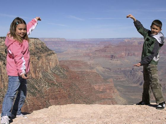 Children checking out the Grand Canyon views