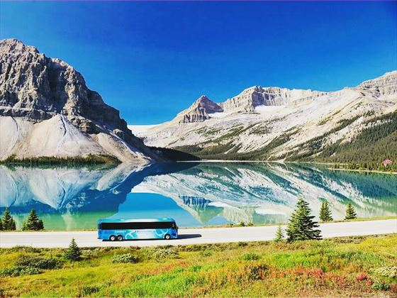 Coach driving the Icefield Parkway route
