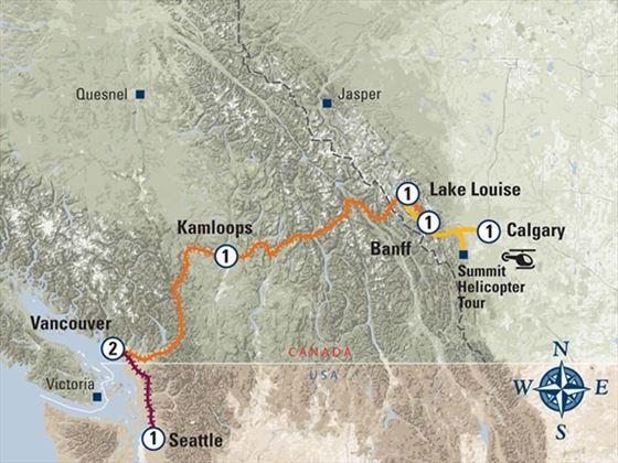 coastal Passage Canadian Rockies Highlights Itinerary Map