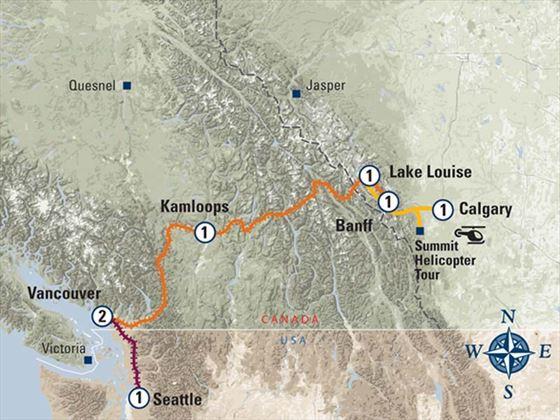 coastal Passage Canadian Rockies Highlights Itinerary Map