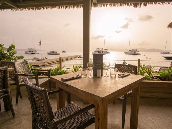 Sunset dining at Cooper Island
