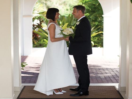 Couple at the entrance of Spice Island resort