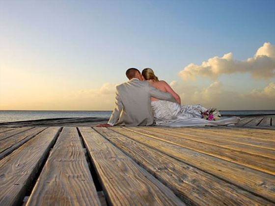 Newlyweds overlooking the ocean