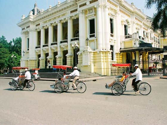 Cyclos at the Opera House, Hanoi, Vietnam