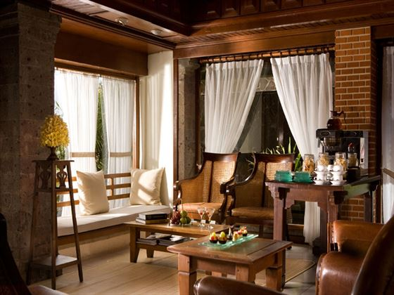 De village club lounge at Kamandalu Resort & Spa